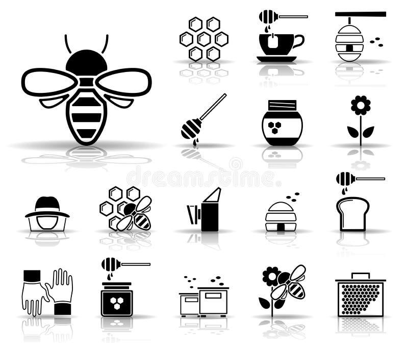 Bin & honung - Iconset - symboler royaltyfri illustrationer