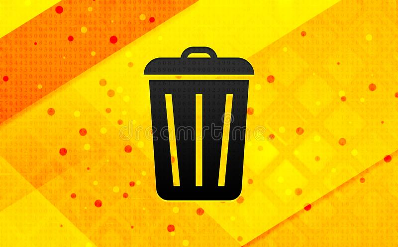 Bin icon abstract digital banner yellow background. Bin icon isolated on abstract digital banner yellow background vector illustration
