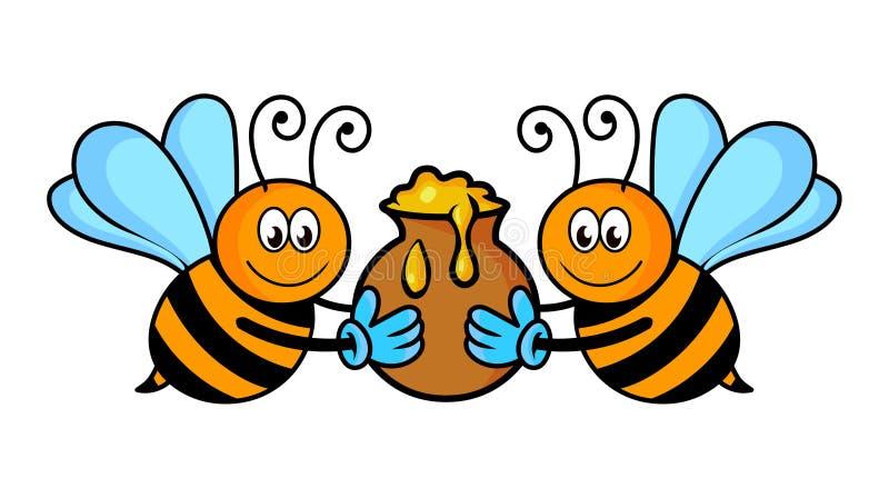 Bin med honungvektorn Tecknad filmbin royaltyfri illustrationer