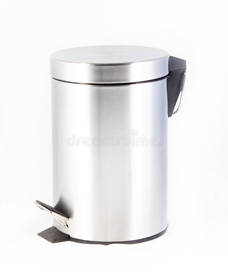 Bin. Metal bin isolated on white background royalty free stock image