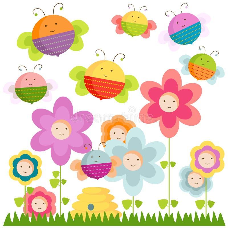 Bin och blommor stock illustrationer