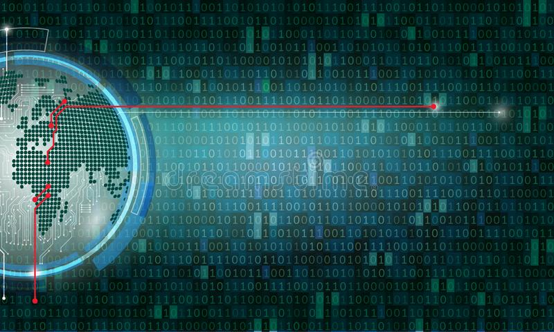 Bin?r Code-Computermatrixhintergrund-Kunstentwurf Stellen auf Schirm Grafische Daten des abstrakten Begriffs, Technologie, Dekodi vektor abbildung