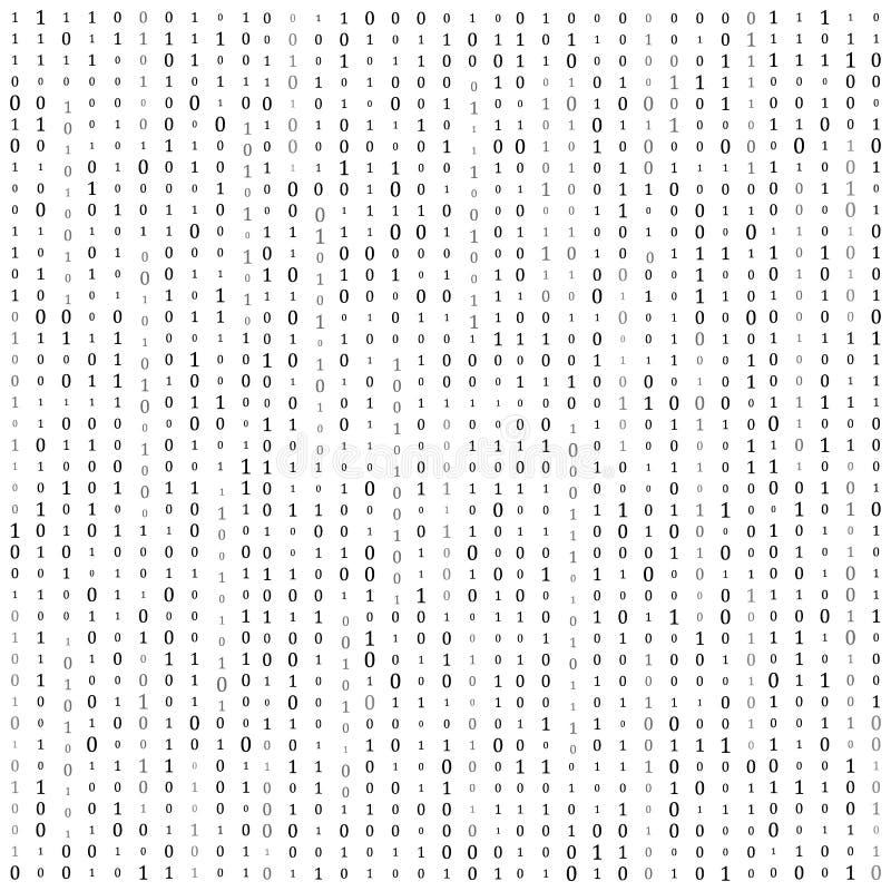 Bin?r Code null ein Matrixwei?hintergrund Fahne, Muster, Tapete Auch im corel abgehobenen Betrag stockfoto