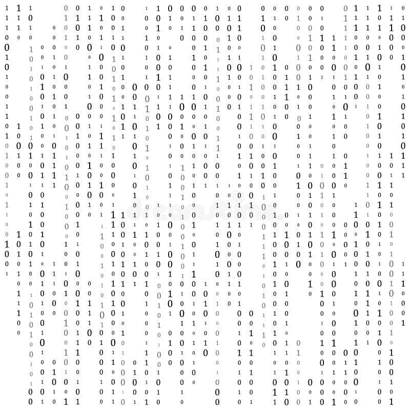 Bin?r kod noll en matrisvitbakgrund baner modell, tapet ocks? vektor f?r coreldrawillustration stock illustrationer