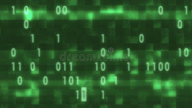 Bin?r kod som ?r slumpm?ssig p? gamla ledde bokst?ver f?r nummer f?r tappning f?r bakgrund f?r lcd-sk?rmillustration som nya retr vektor illustrationer
