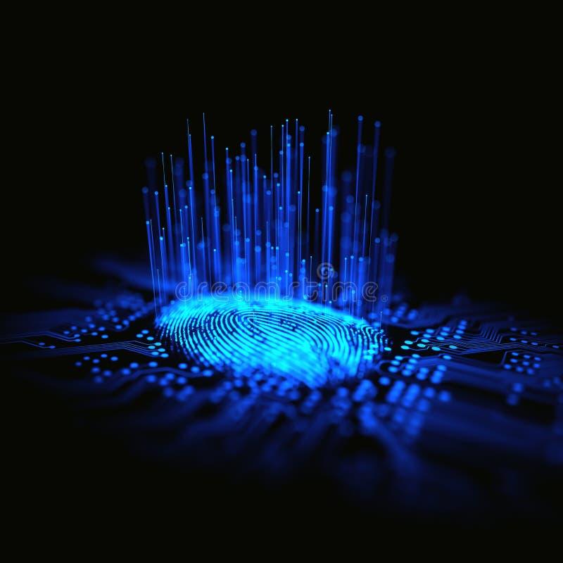 Bin?r mikrochips f?r fingeravtryck vektor illustrationer