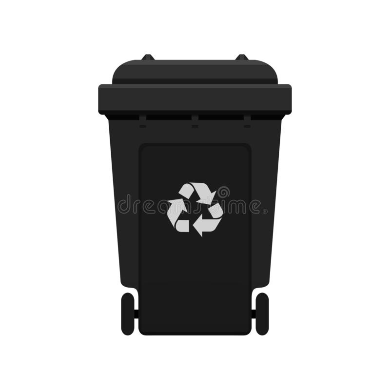 Bin, Recycle plastic black wheelie bin for waste isolated on white background, Black bin with recycle waste symbol, Front view. A Bin, Recycle plastic black vector illustration