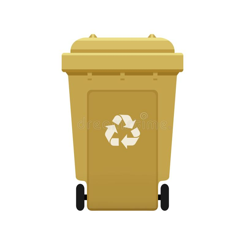 Bin, Recycle plastic gold wheelie bin for waste isolated on white background, Golden bin with recycle waste symbol, Front view. A Bin, Recycle plastic gold royalty free illustration