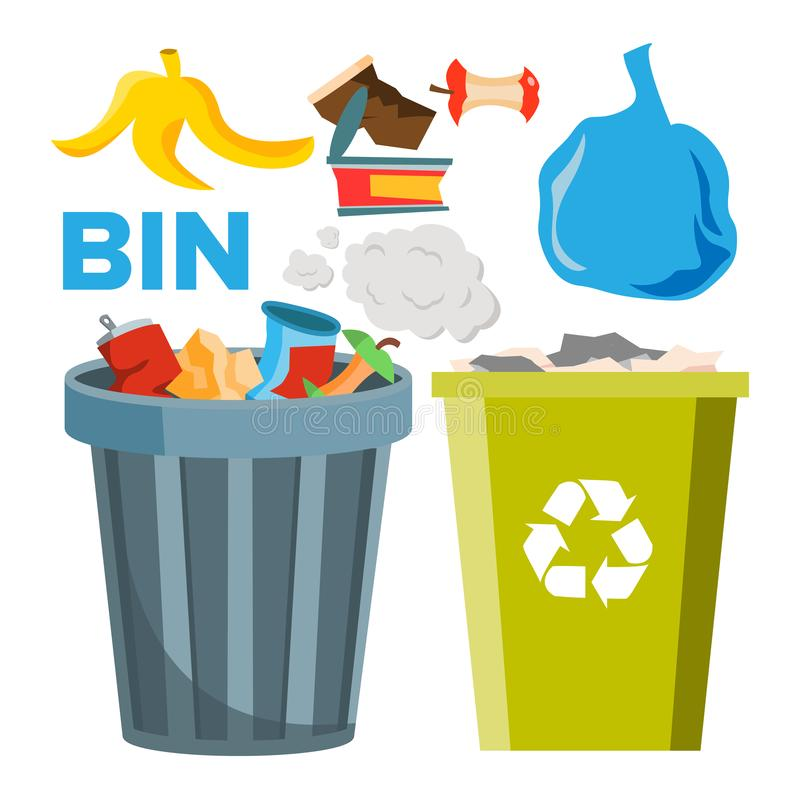 Bin Trash Icons Vector. Classic And Recycling Bins. Isolated Flat Cartoon Illustration royalty free illustration