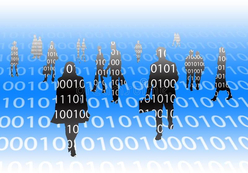 Binair silhouet stock illustratie