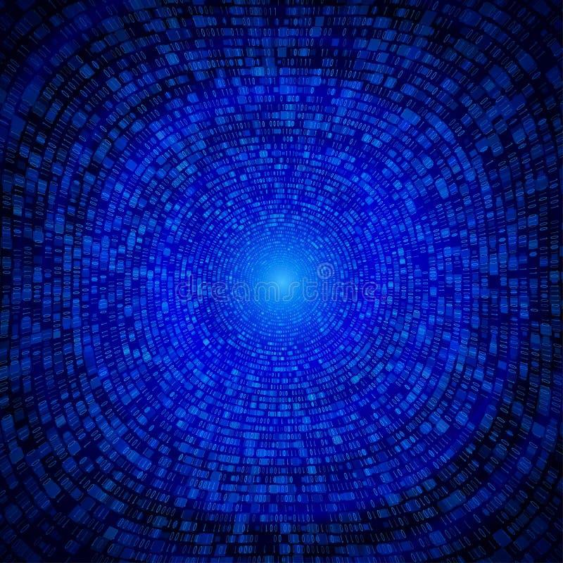 Binaire Code Achtergrondtunnel Digitale Communicatiegegevens royalty-vrije illustratie