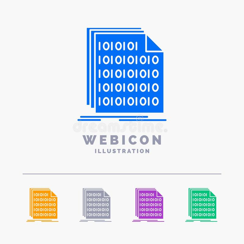 Binaire, code, codage, données, calibre d'icône de Web de Glyph de couleur du document 5 d'isolement sur le blanc Illustration de illustration libre de droits