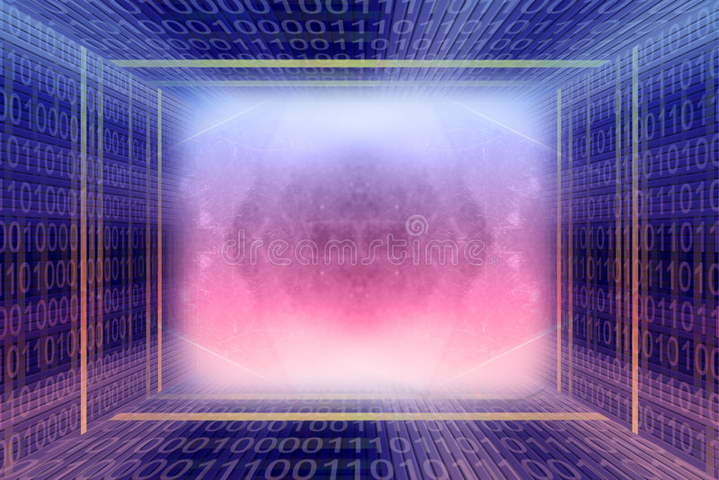 Binaire code digitale tunnel royalty-vrije stock afbeeldingen