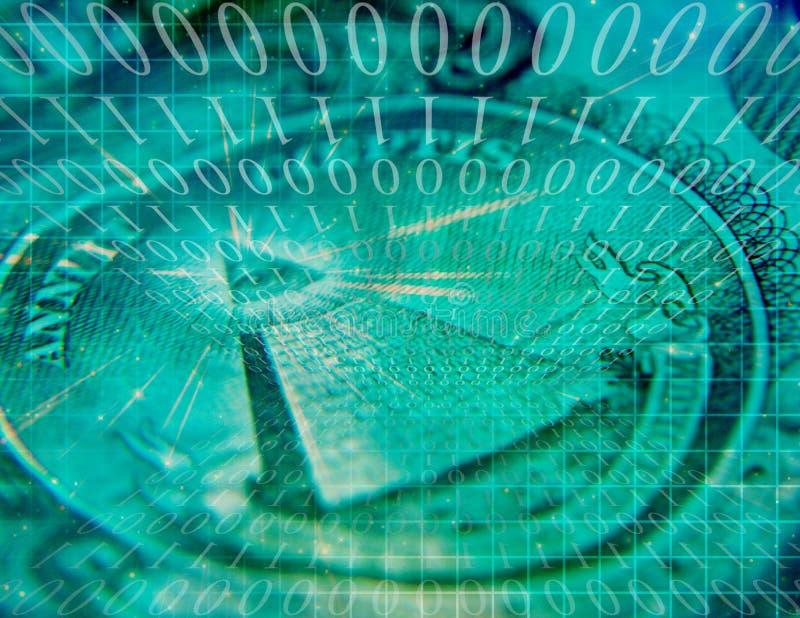 Binaire Code en de Samenvatting van de V.S.- Munt royalty-vrije illustratie