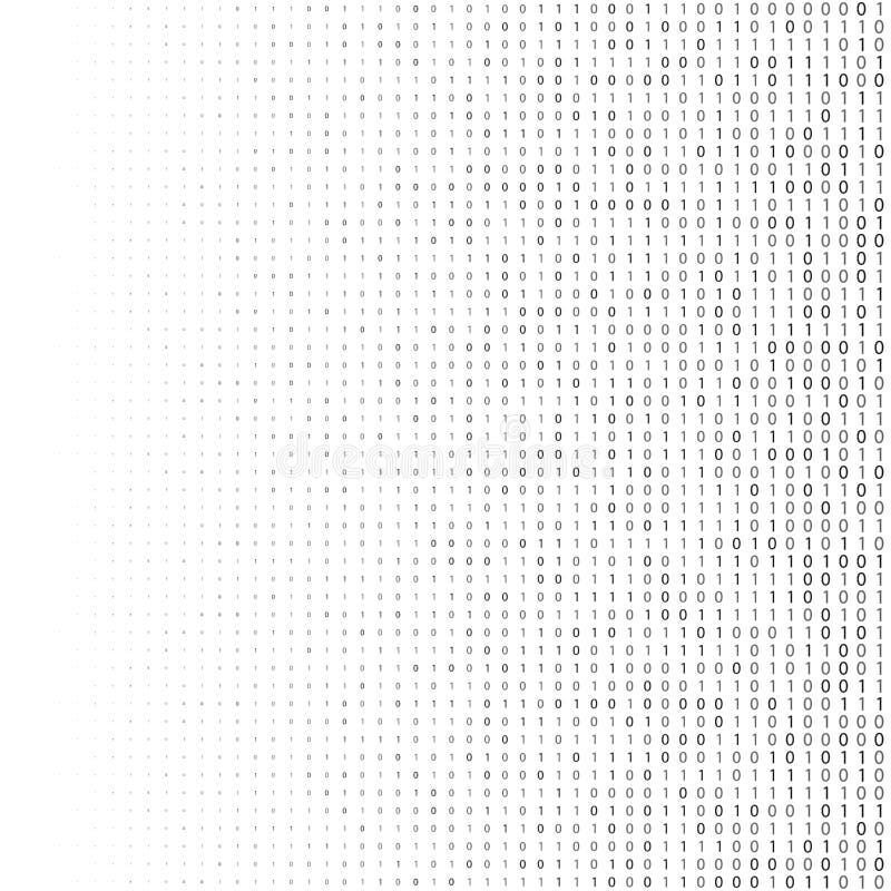Binaire code halftone achtergrond Nul één abstracte symbolen Het coderen de illustratie van het programmeringsconcept stock illustratie