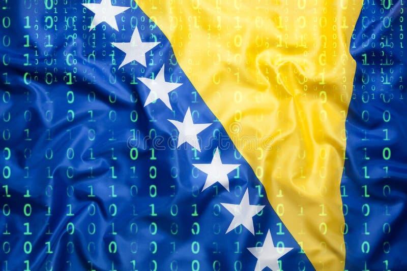 Binaire code met de vlag van Bosnië-Herzegovina, mede gegevensbescherming royalty-vrije stock fotografie