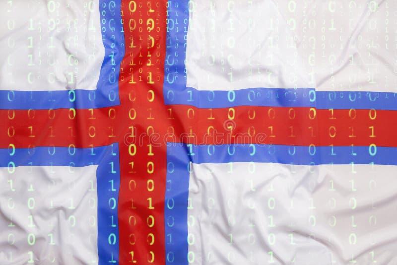 Binaire code met de vlag van de Faeröer, gegevensbeschermingconcept stock fotografie