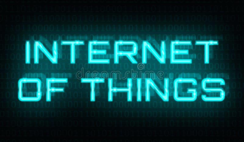 Binaire code met de woorden Internet van dingen in het centrum royalty-vrije stock foto