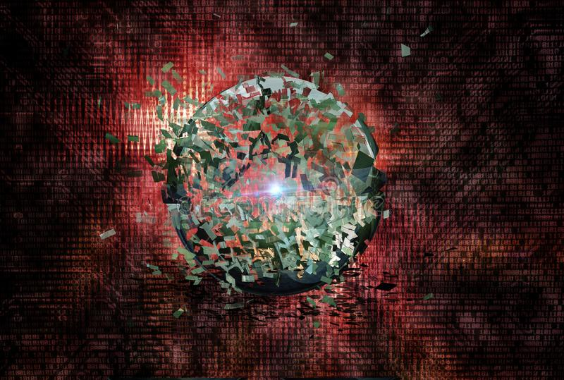 Binaire code met explosie van een gebied royalty-vrije illustratie