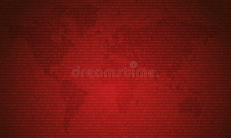 Binaire code met twee binaire cijfers, 0 en 1 op rode kaartachtergrond Algoritme Binaire Gegevens Code, Decryptie en het Coderen  stock illustratie