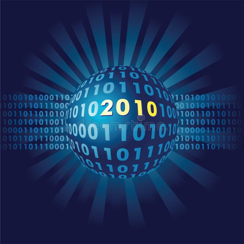 Binaire code in nieuwe het jaarbal van 2010 royalty-vrije illustratie