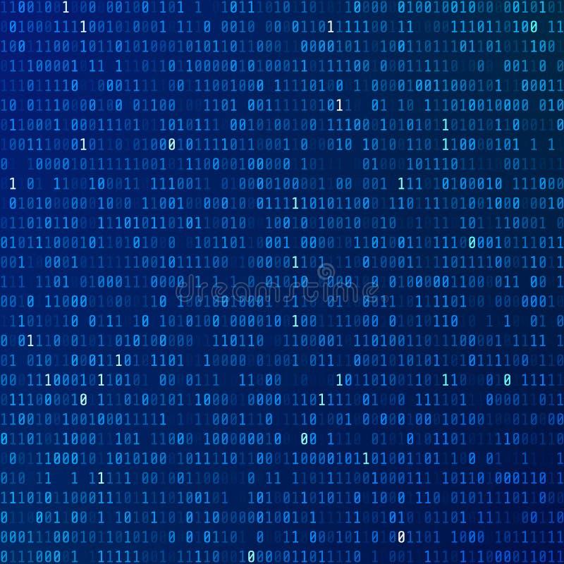 Binaire code Programmerende gecodeerde informatie De achtergrond van de technologie Stroom van nul en degenen royalty-vrije illustratie