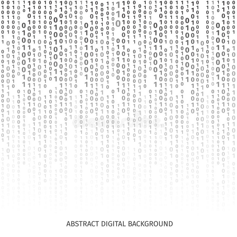 Binaire code zwart-witte achtergrond met cijfers vector illustratie