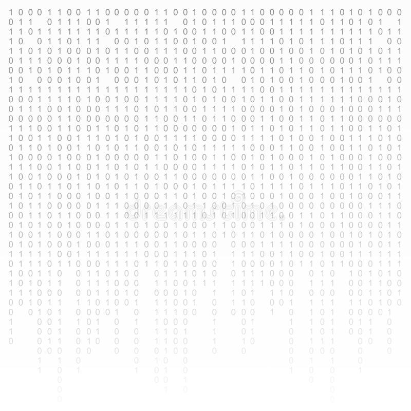 Binaire code zwart-witte achtergrond met cijfers op het scherm Algoritme, gegevens, decryptie het coderen, rijmatrijs vector illustratie