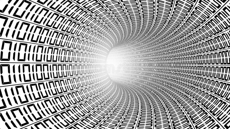 Binaire codenummers in witte abstracte snelheidsmotie in weg vector illustratie