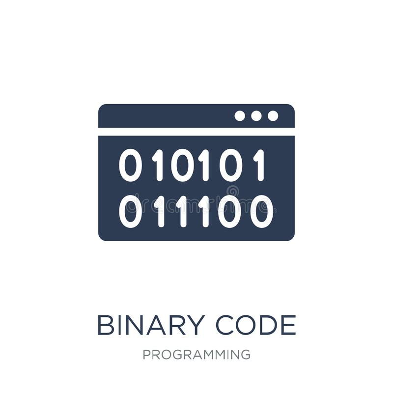 Binaire codepictogram In vlak vector Binaire codepictogram op witte B royalty-vrije illustratie