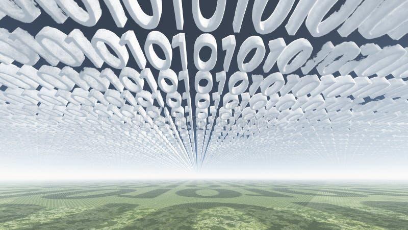 Binaire codewolken vector illustratie