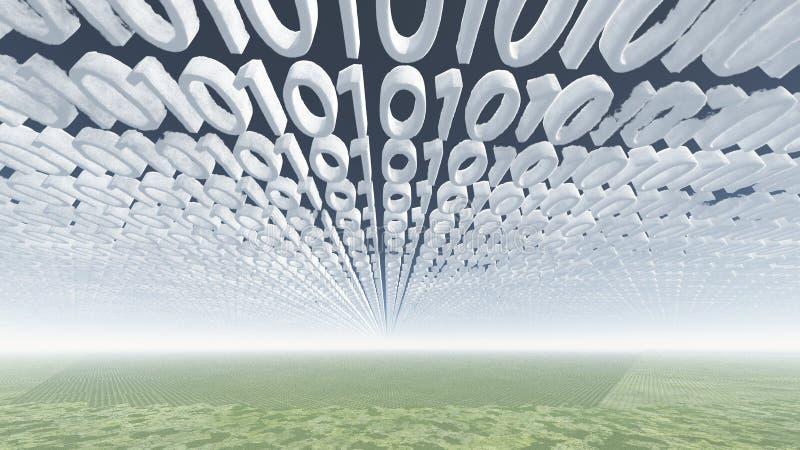 Binaire codewolken stock illustratie