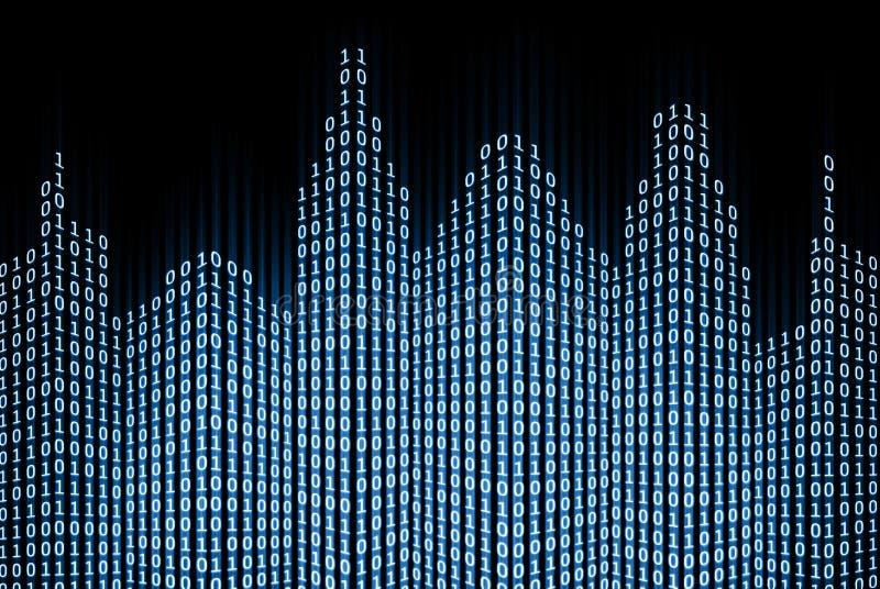 Binaire digitale stad stock illustratie