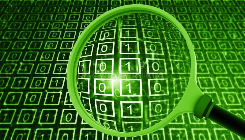 Binaire gegevens met vergrootglas stock illustratie