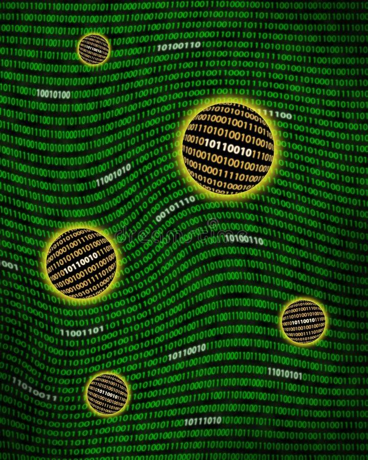 Binaire gegevensorbs die een digitale draaikolk drijven royalty-vrije illustratie
