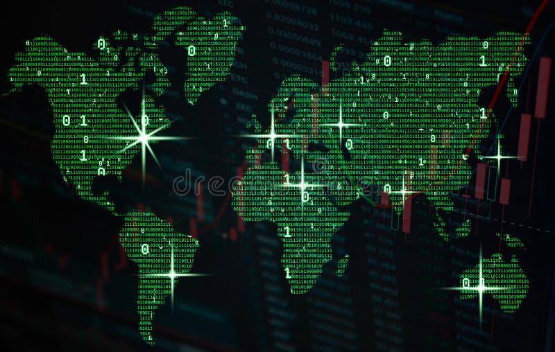 Binaire globale kaart, grote gegevens en financieel concept globalisering royalty-vrije stock afbeelding