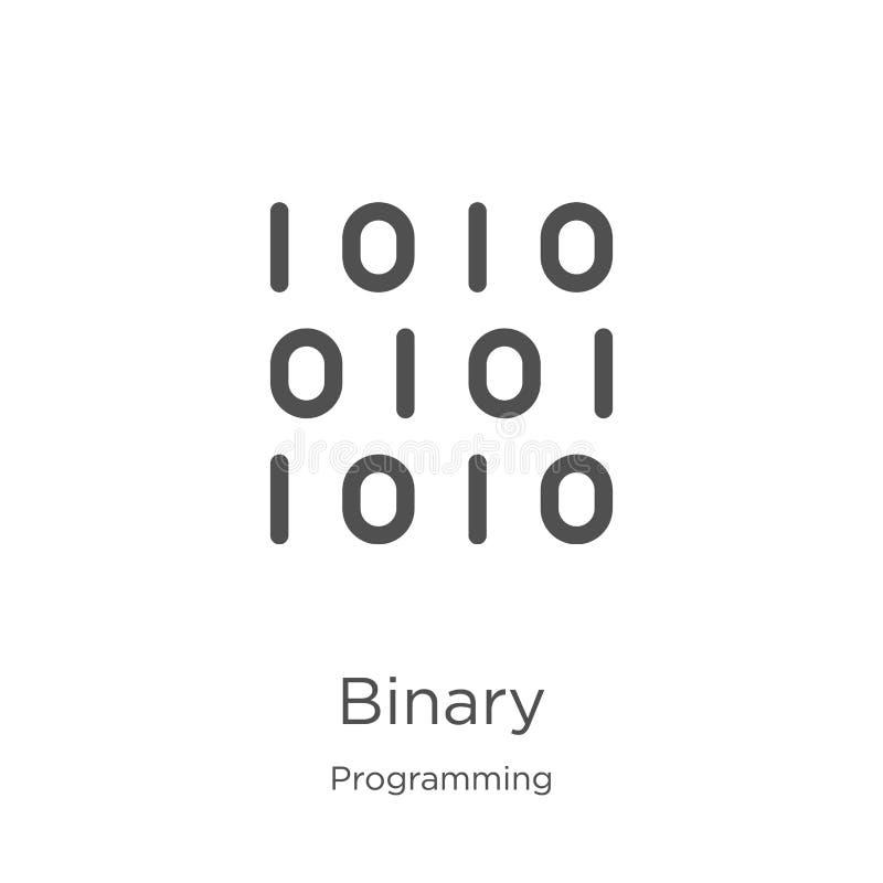 binaire pictogramvector van de programmering van inzameling Dunne het pictogram vectorillustratie van het lijn binaire overzicht  vector illustratie