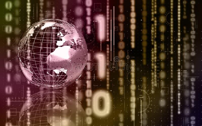 Binaire wereld met 3D bol vector illustratie