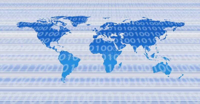 Binaire wereldkaart stock illustratie