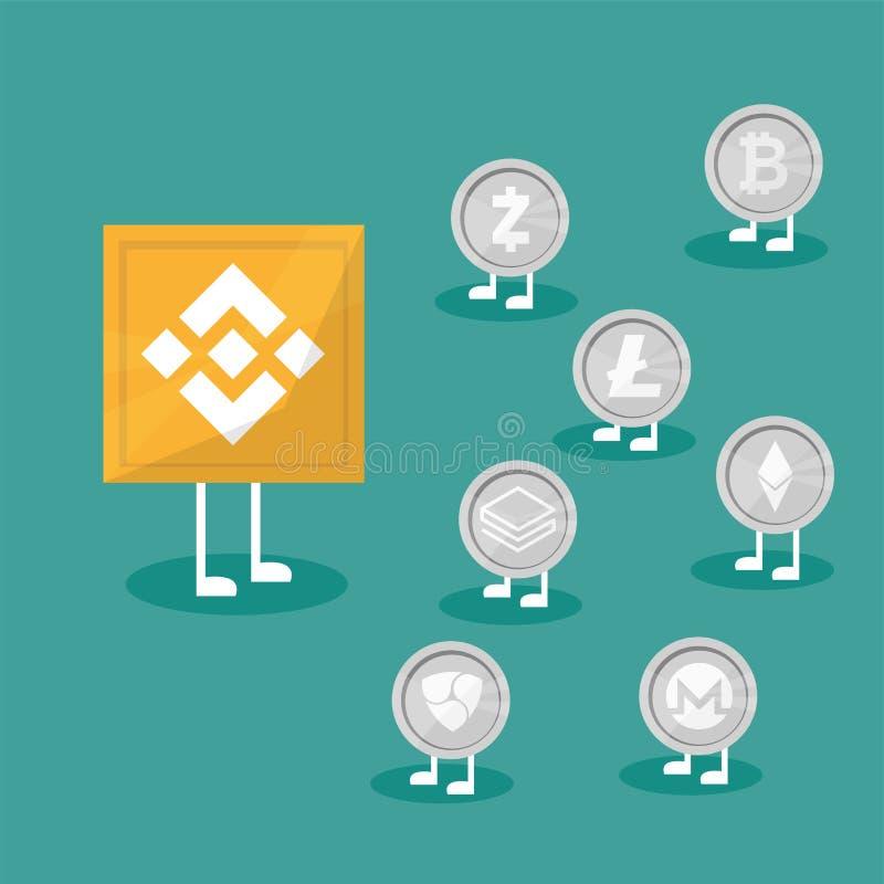 Binance de Blockchain - tecnología del intercambio de Cryptocurrency en estilo plano del diseño libre illustration
