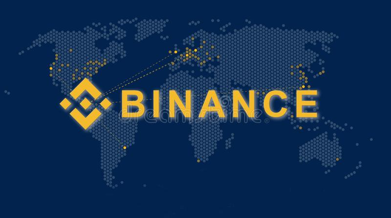 Binance es un mercado de intercambio de las finanzas Concepto Crypto del fondo de la moneda ilustración del vector