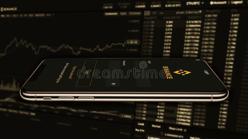 Binance es un mercado de intercambio de las finanzas Concepto Crypto del fondo de la moneda fotos de archivo