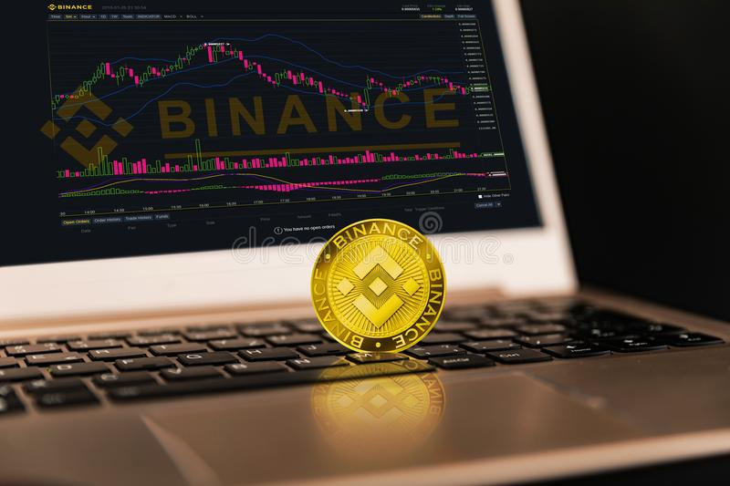 Binance is a finance exchange market. Crypto Currency background concept. Cryptocurrency BNB Binance coin royalty free stock photography