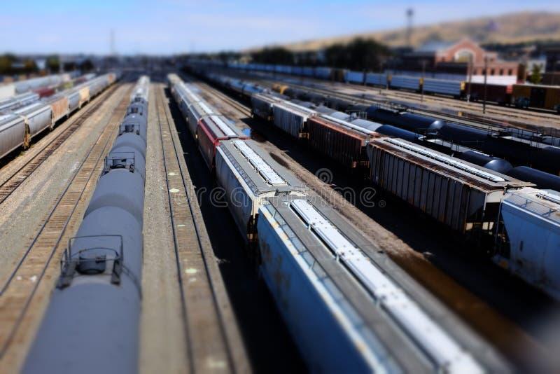 Binari ferroviari ed automobili di treni nei modelli miniatura di modo piccolo T fotografia stock