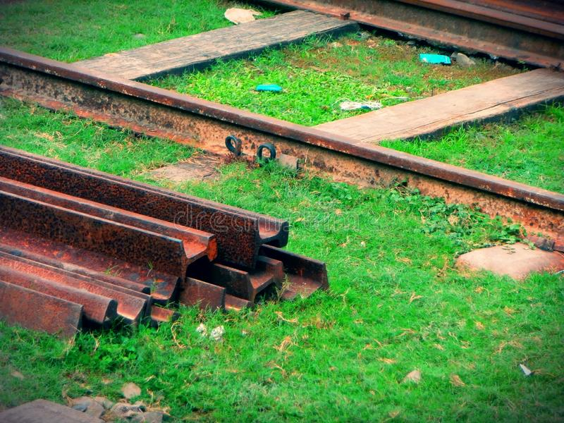 Binario del treno in Bangladesh fotografia stock