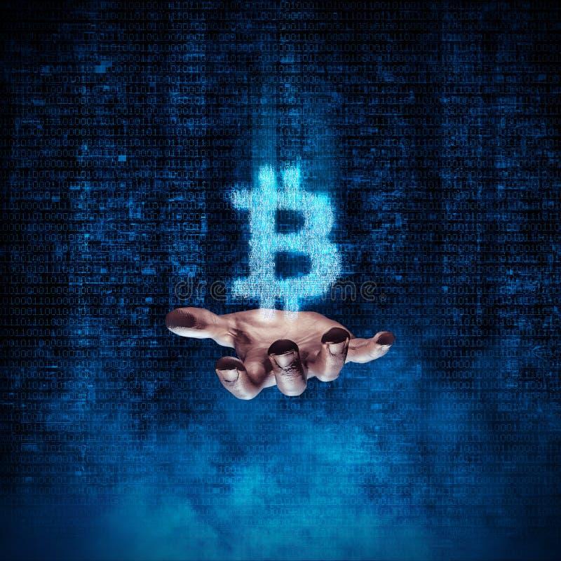 Binarna bitcoin ręka ilustracja wektor