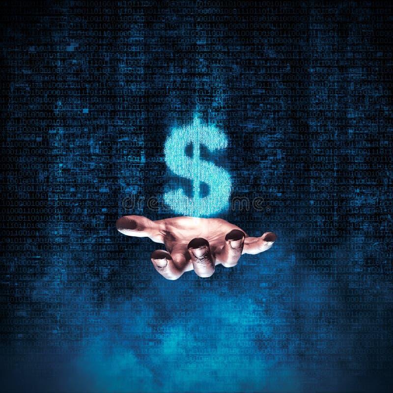 Binarna dolarowa ręka ilustracja wektor