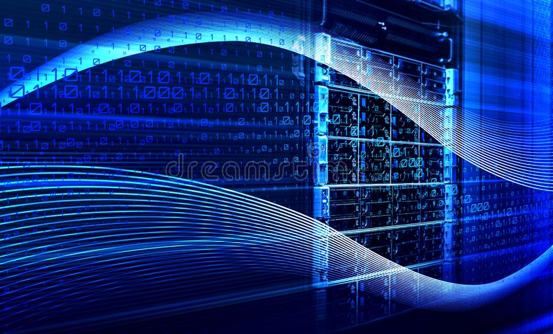 Binarnego kodu dane przepływ wśrodku serweru 3D renderingu ilustracja wektor