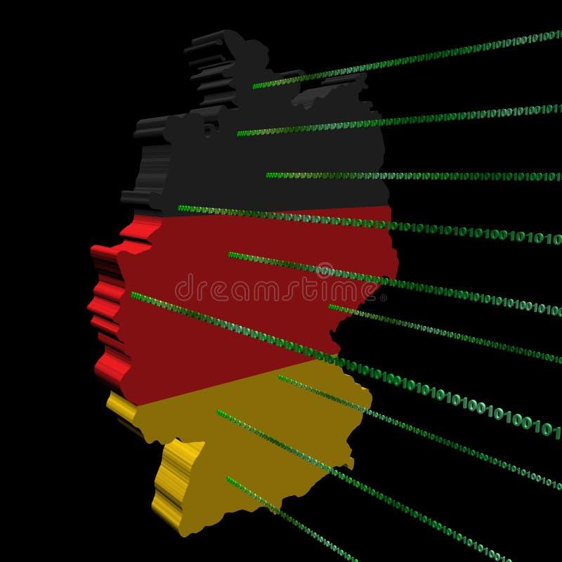 binarnego kodu flaga Germany mapa royalty ilustracja