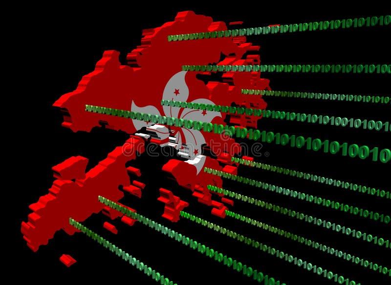 binarnego kodu flaga Hong kong mapa ilustracji